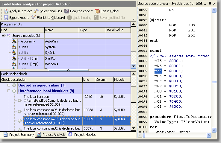 Click to view CodeHealer 2.6 screenshot